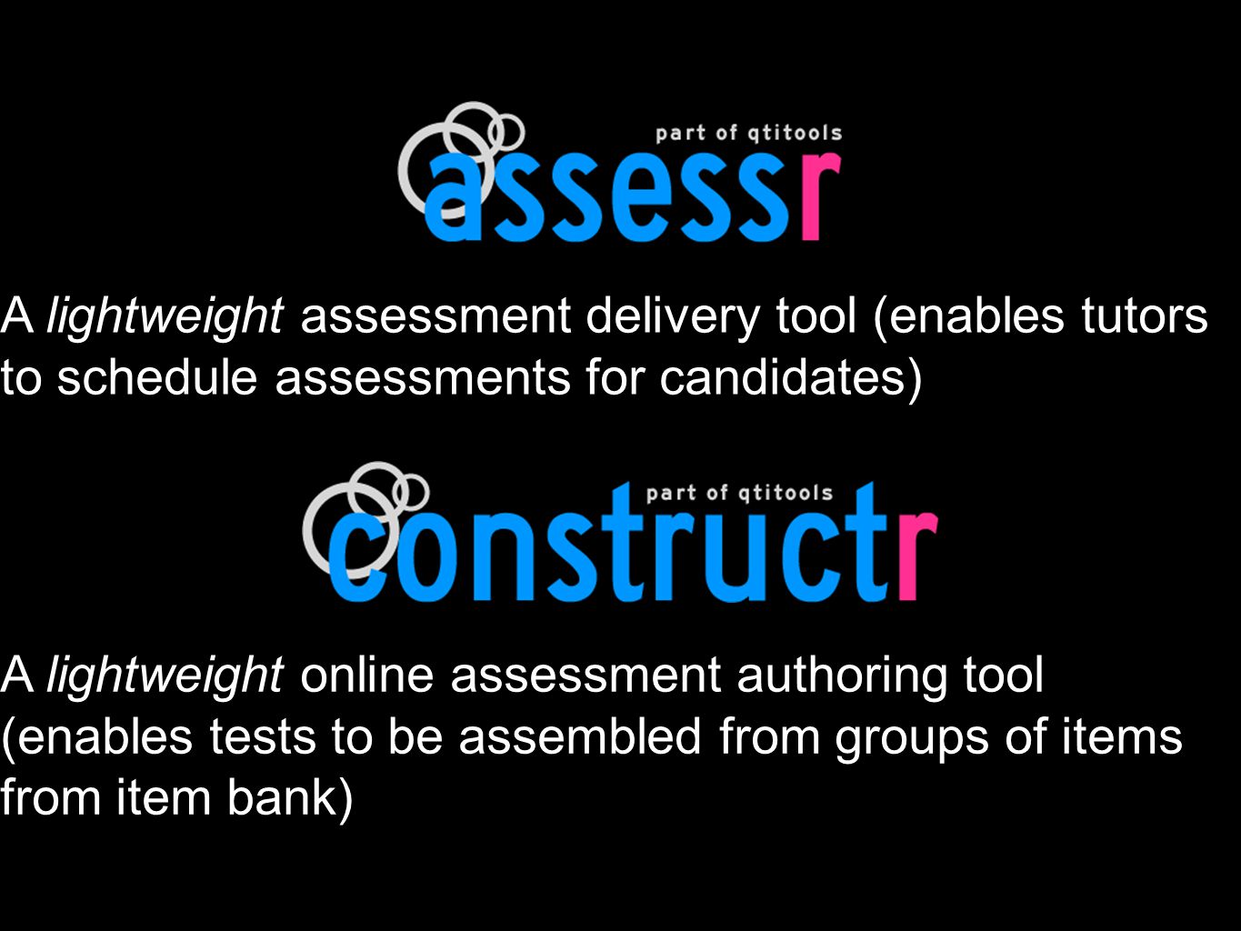 A lightweight assessment delivery tool (enables tutors to schedule assessments for candidates) A lightweight online assessment authoring tool (enables tests to be assembled from groups of items from item bank)
