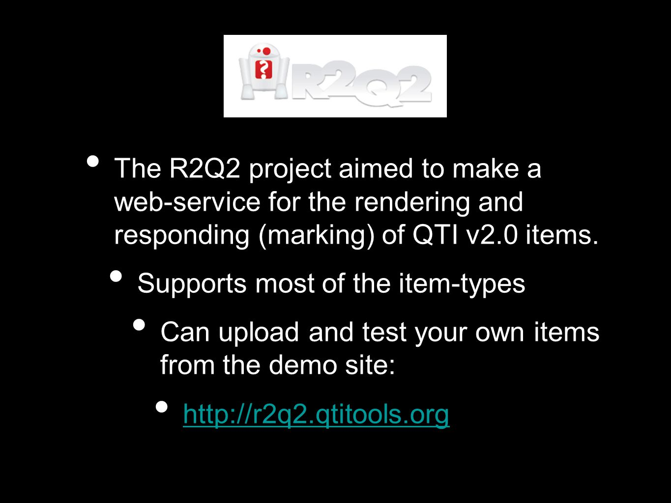 As part of the ASDEL project we have made some improvements to the original R2Q2: Bug fixes Improvements to the renderer, allowing control over what is output (summer student work) New web-service interface It's now interoperable.