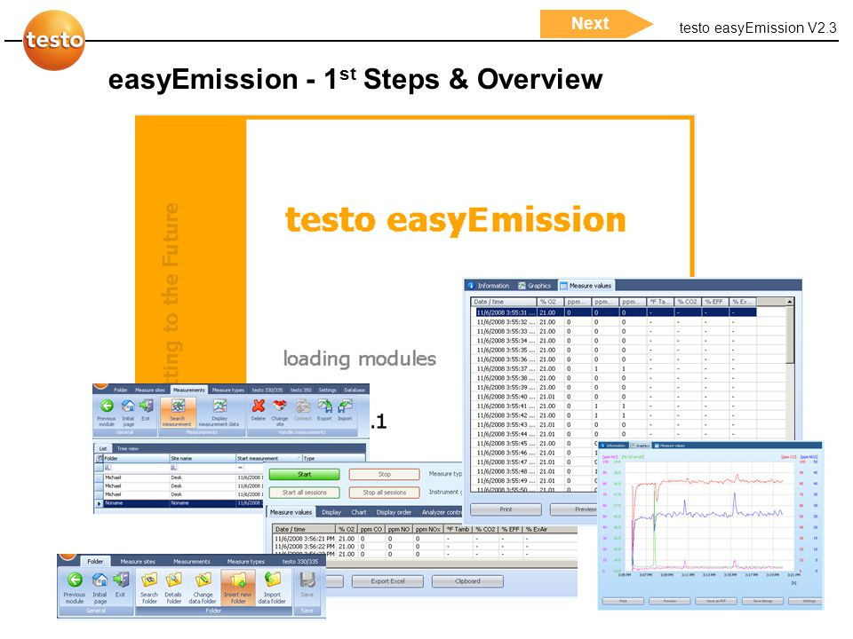 testo easyEmission V2.3 1 Start pageNextBack easyEmission - 1 st Steps & Overview