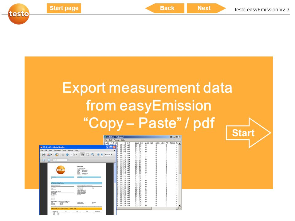 "testo easyEmission V2.3 28 Start pageNextBack Export measurement data from easyEmission ""Copy – Paste"" / pdf Start"