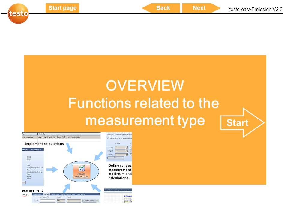 testo easyEmission V2.3 53 Start pageNextBack OVERVIEW Functions related to the measurement type Start