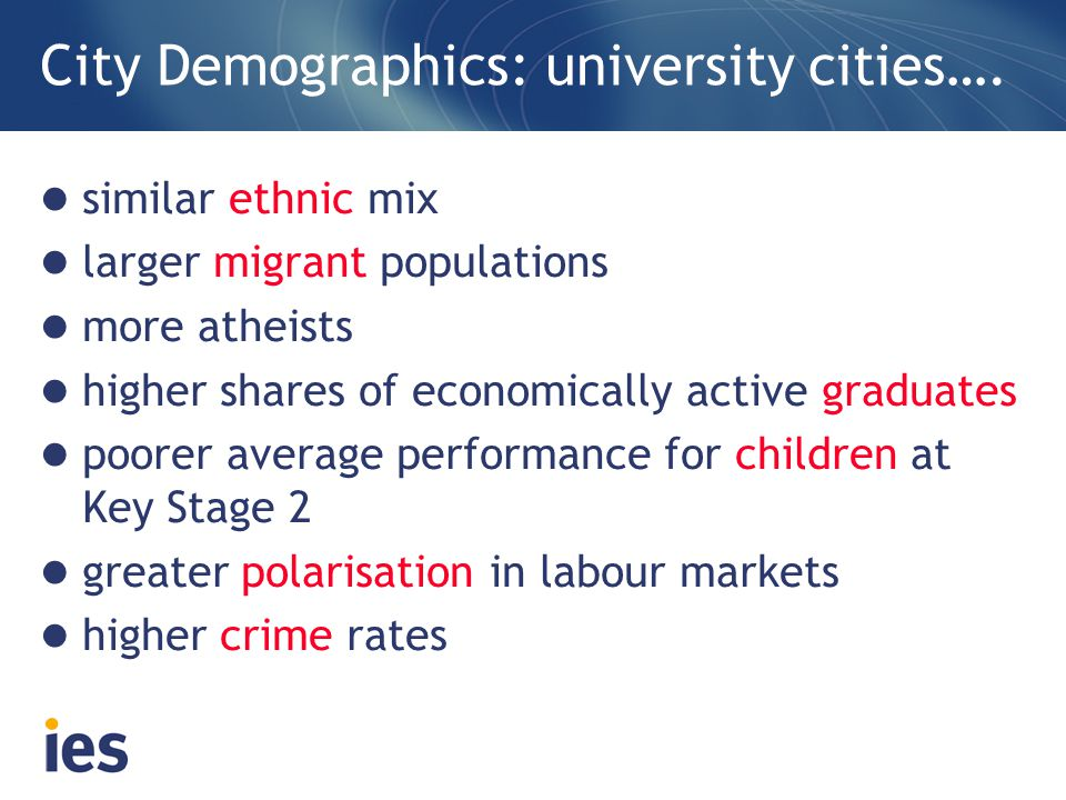 City Demographics: university cities….