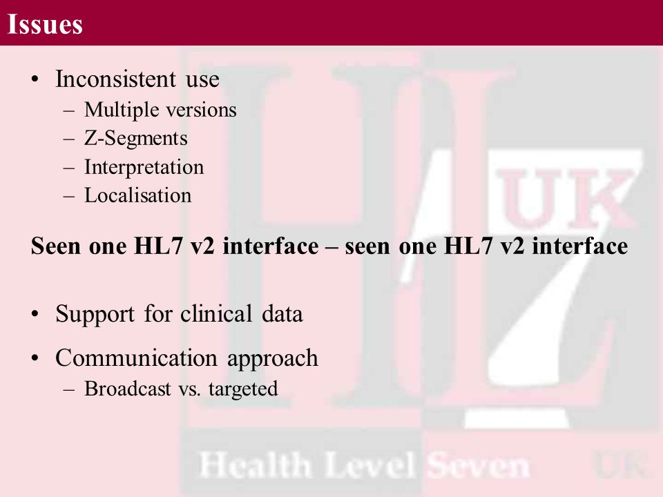 Issues Inconsistent use –Multiple versions –Z-Segments –Interpretation –Localisation Support for clinical data Communication approach –Broadcast vs. t