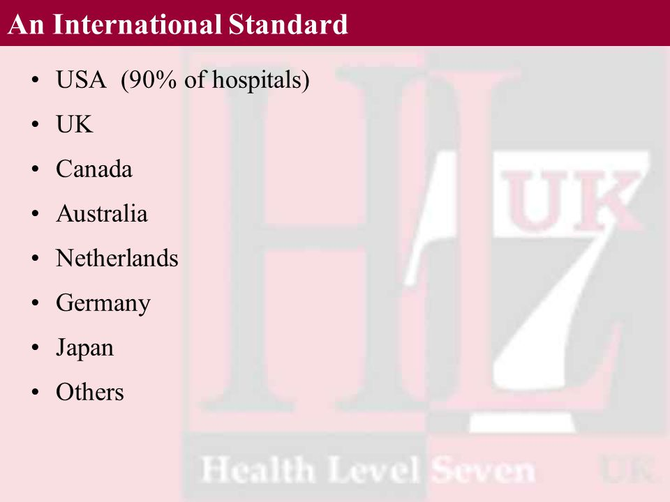 An International Standard USA (90% of hospitals) UK Canada Australia Netherlands Germany Japan Others