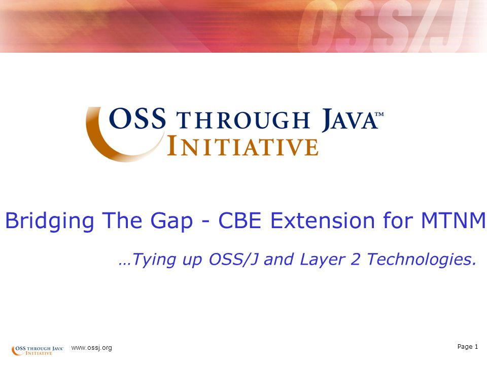Page 21 www.ossj.org A new breed of OSS solutions powered by Java Technology OSS Through Java TM Initiative