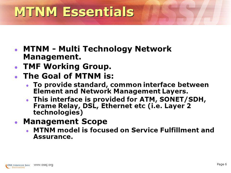 Page 6 www.ossj.org MTNM Essentials MTNM - Multi Technology Network Management.