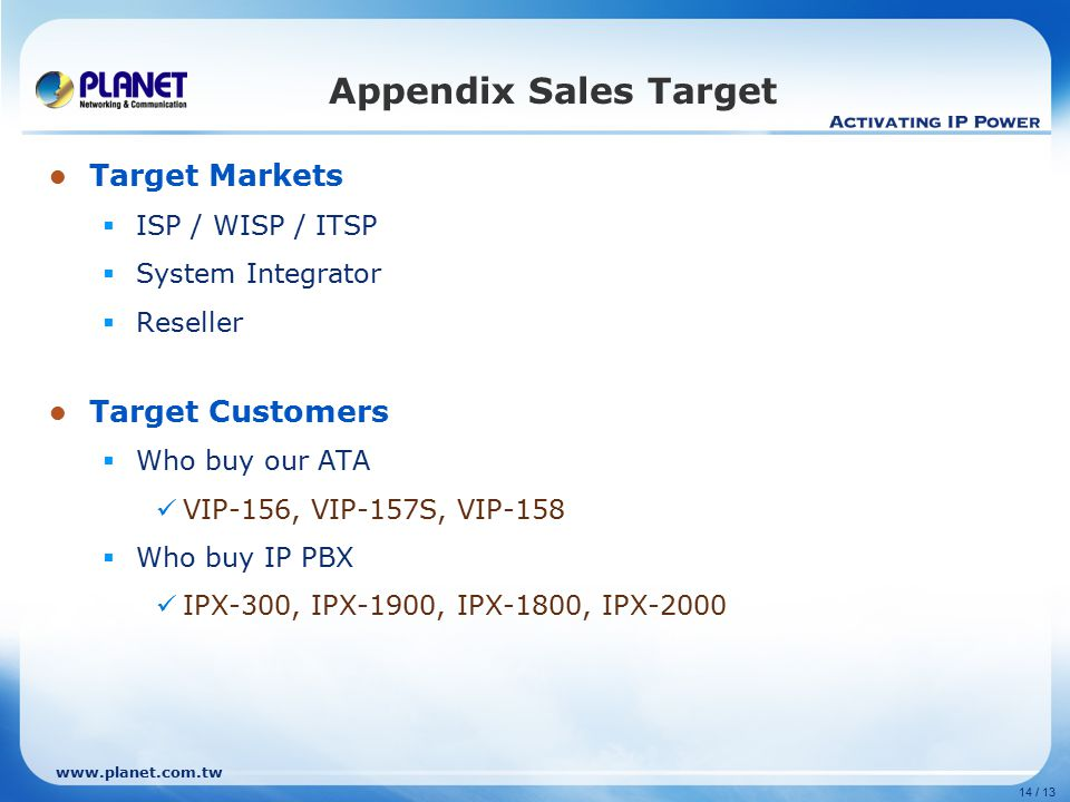 14 / 13 Target Markets  ISP / WISP / ITSP  System Integrator  Reseller Target Customers  Who buy our ATA VIP-156, VIP-157S, VIP-158  Who buy IP PBX IPX-300, IPX-1900, IPX-1800, IPX-2000 Appendix Sales Target