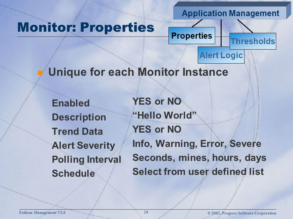 © 2002, Progress Software Corporation Fathom Management V2.0 19 Monitor: Properties n Unique for each Monitor Instance Enabled Description Trend Data Alert Severity Polling Interval Schedule YES or NO Hello World YES or NO Info, Warning, Error, Severe Seconds, mines, hours, days Select from user defined list Properties Alert Logic Thresholds Application Management