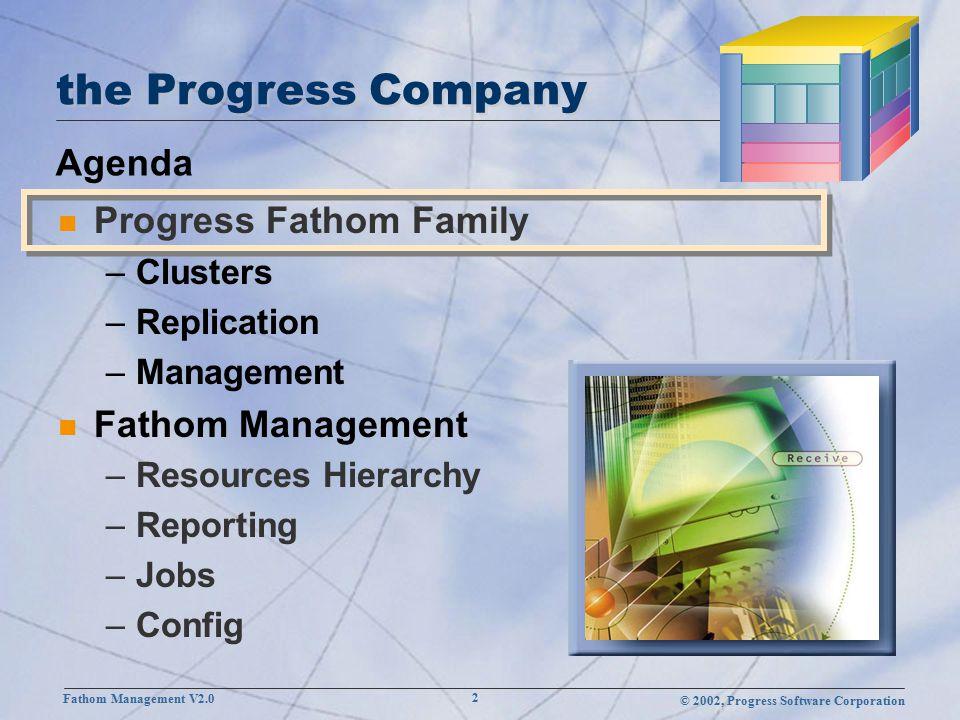 © 2002, Progress Software Corporation Fathom Management V2.0 2 Agenda the Progress Company n Progress Fathom Family –Clusters –Replication –Management n Fathom Management –Resources Hierarchy –Reporting –Jobs –Config