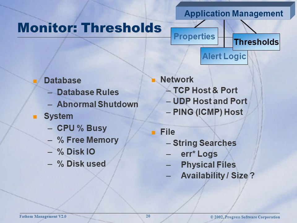 © 2002, Progress Software Corporation Fathom Management V2.0 20 Monitor: Thresholds n Database –Database Rules –Abnormal Shutdown n System –CPU % Busy –% Free Memory –% Disk IO –% Disk used Properties Alert Logic Thresholds n Network – TCP Host & Port – UDP Host and Port – PING (ICMP) Host n File – String Searches –err* Logs –Physical Files –Availability / Size .