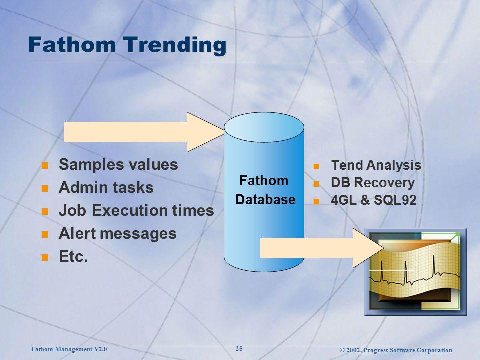 © 2002, Progress Software Corporation Fathom Management V2.0 25 Fathom Trending n Samples values n Admin tasks n Job Execution times n Alert messages n Etc.