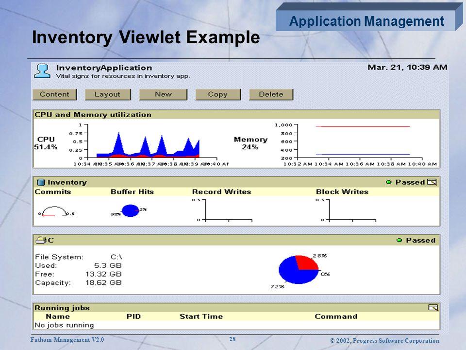 © 2002, Progress Software Corporation Fathom Management V2.0 28 Inventory Viewlet Example Application Management
