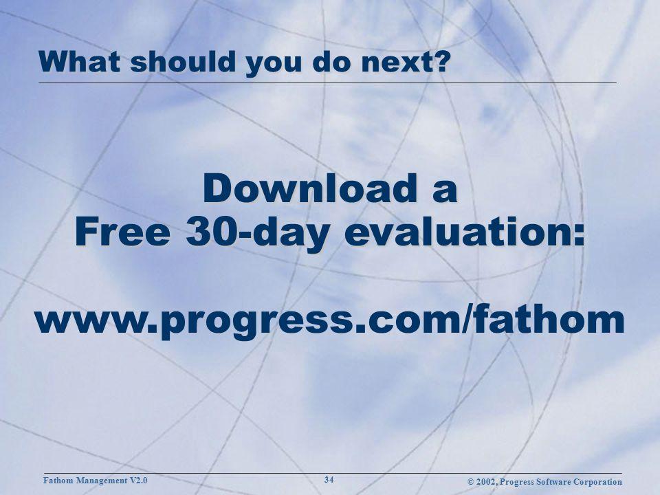 © 2002, Progress Software Corporation Fathom Management V2.0 34 What should you do next.