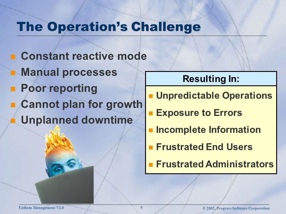 © 2002, Progress Software Corporation Fathom Management V2.0 27 Reporting Application Management