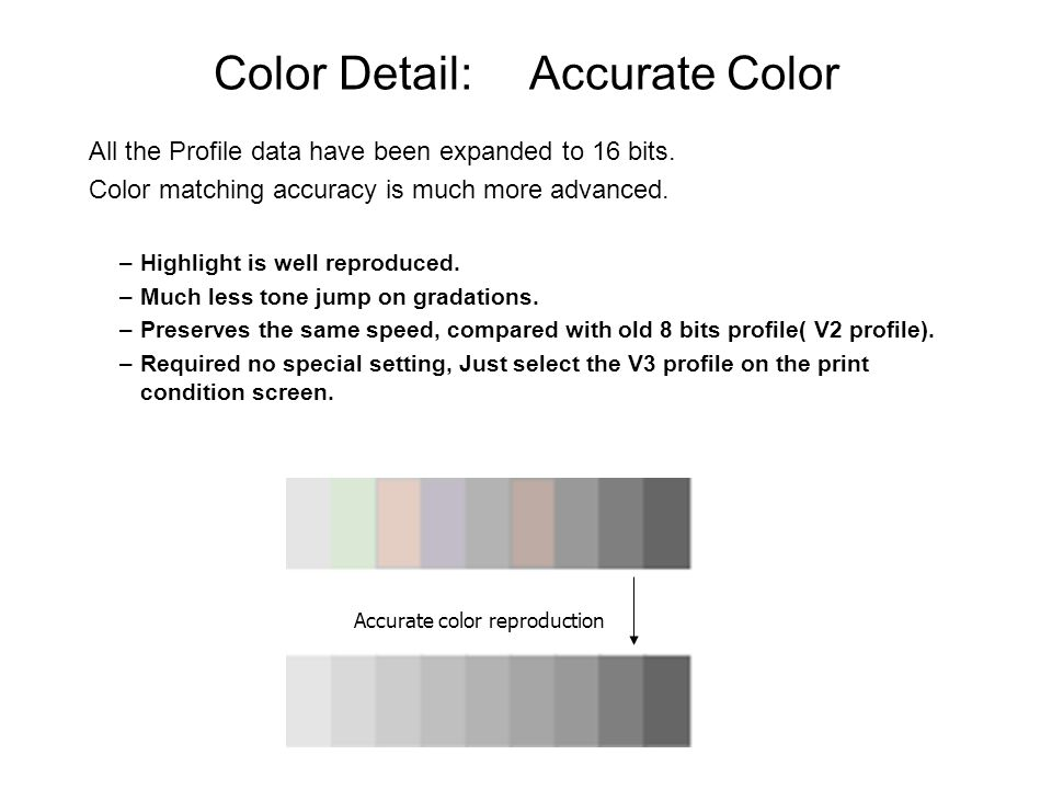 Color Detail: Accurate Color All the Profile data have been expanded to 16 bits.