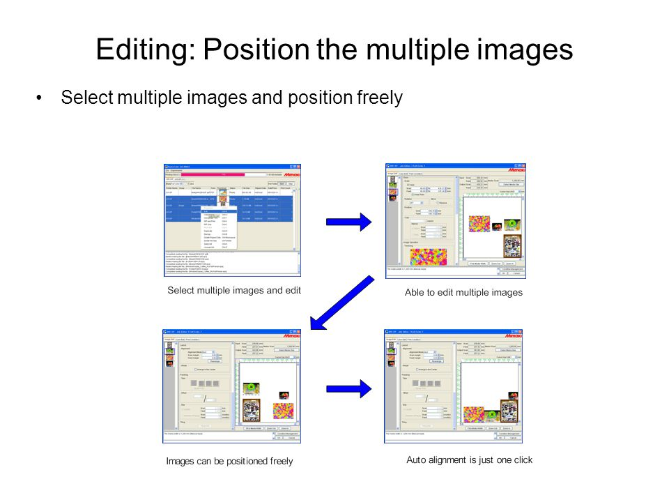 Editing: Position the multiple images Select multiple images and position freely