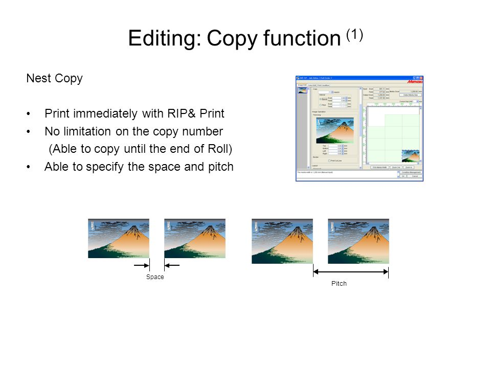 Editing: Copy function (1) Nest Copy Print immediately with RIP& Print No limitation on the copy number (Able to copy until the end of Roll) Able to specify the space and pitch Pitch Space