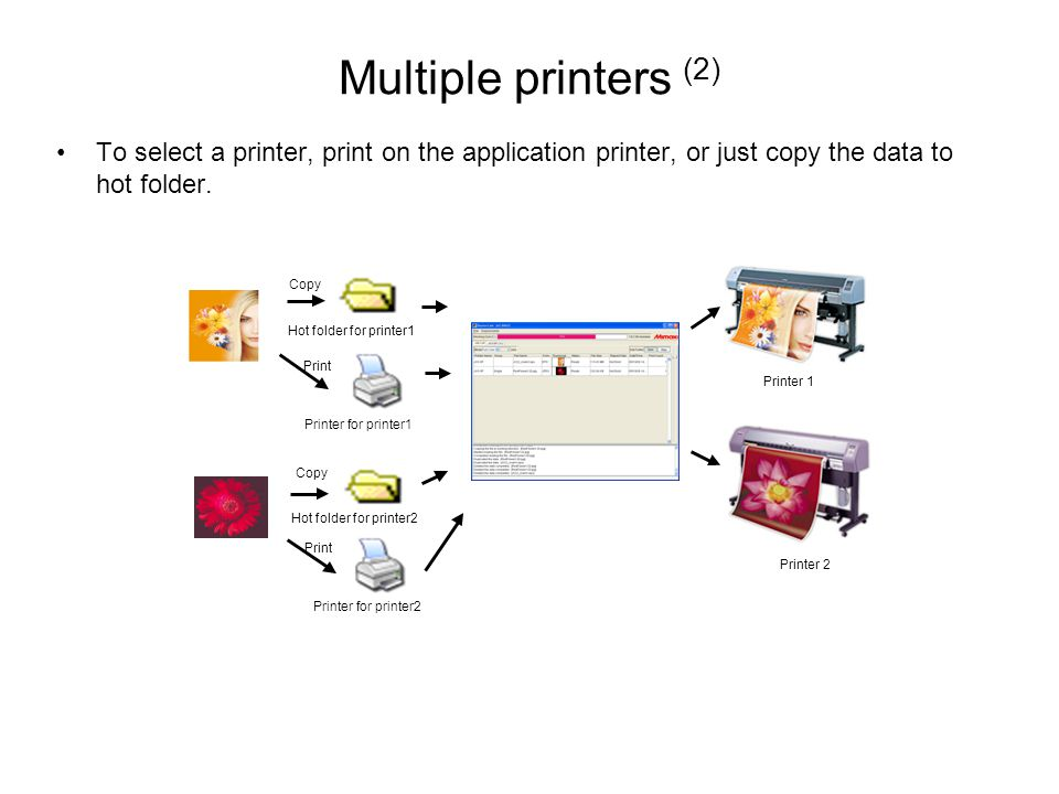 Multiple printers (2) To select a printer, print on the application printer, or just copy the data to hot folder.
