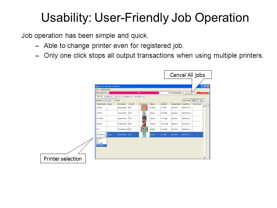 Usability: User-Friendly Job Operation Job operation has been simple and quick.