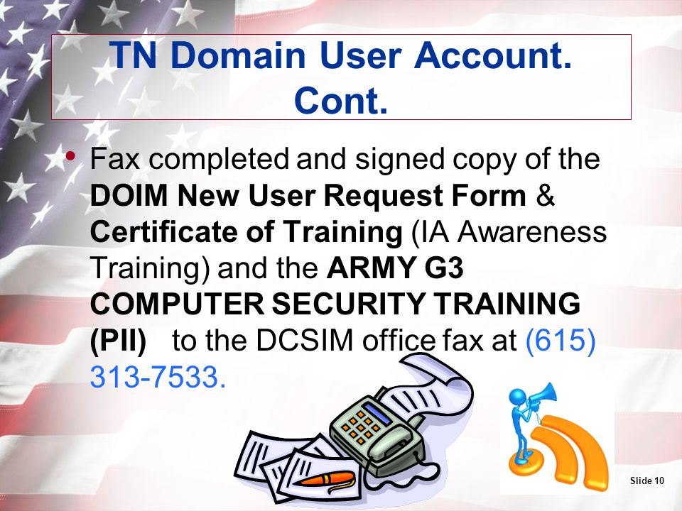 TN Domain User Account. Cont.