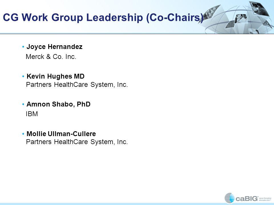 CG Work Group Leadership (Co-Chairs) Joyce Hernandez Merck & Co. Inc. Kevin Hughes MD Partners HealthCare System, Inc. Amnon Shabo, PhD IBM Mollie Ull