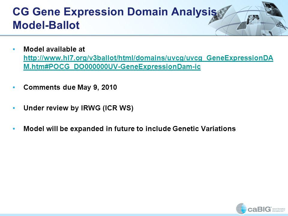 CG Gene Expression Domain Analysis Model-Ballot Model available at http://www.hl7.org/v3ballot/html/domains/uvcg/uvcg_GeneExpressionDA M.htm#POCG_DO00