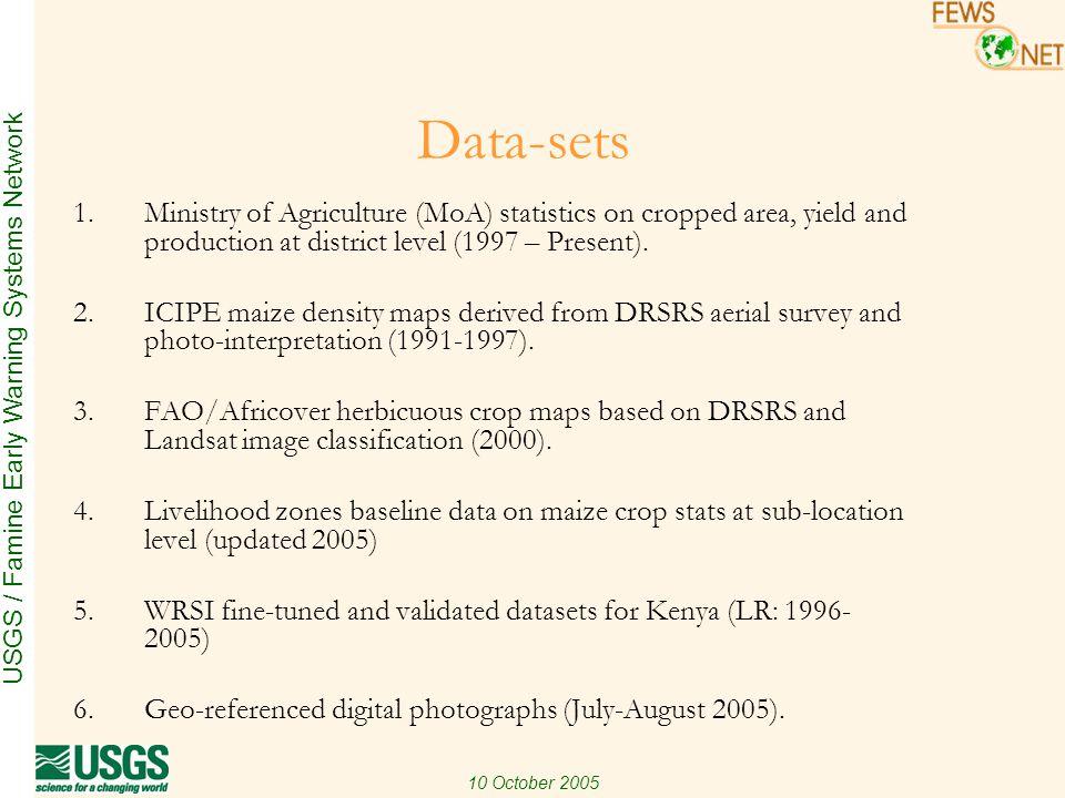 USGS / Famine Early Warning Systems Network 10 October 2005 Next Steps: Initial Estimates Yield based on WRSI (Long-rains 2005) Selection criteria: 1.Large commercial farms (T/Nzoia, U/Gishu) 2.Medium sized farms (Nakuru) 3.Small farms and mixed farming (Kiambu) 4.Flood prone areas (Nyando) 5.Marginal agricultural areas (T/Taveta, Makueni, Kitui, Mwingi)