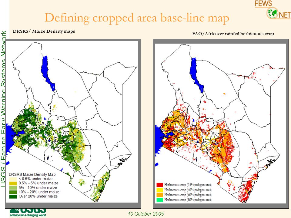 USGS / Famine Early Warning Systems Network 10 October 2005 Intercomparison between DRSRS vs.
