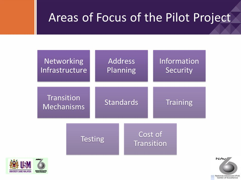 Networking Infrastructure Address Planning Information Security Transition Mechanisms StandardsTraining Testing Cost of Transition Areas of Focus of t