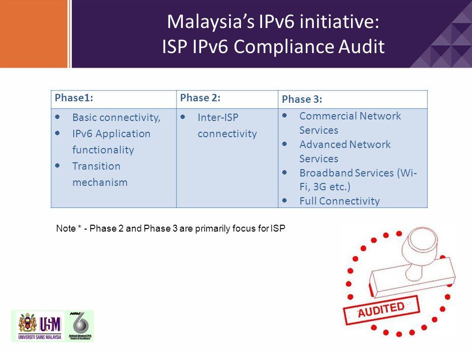 Malaysia's IPv6 initiative: ISP IPv6 Compliance Audit Phase1:Phase 2: Phase 3:  Basic connectivity,  IPv6 Application functionality  Transition mec