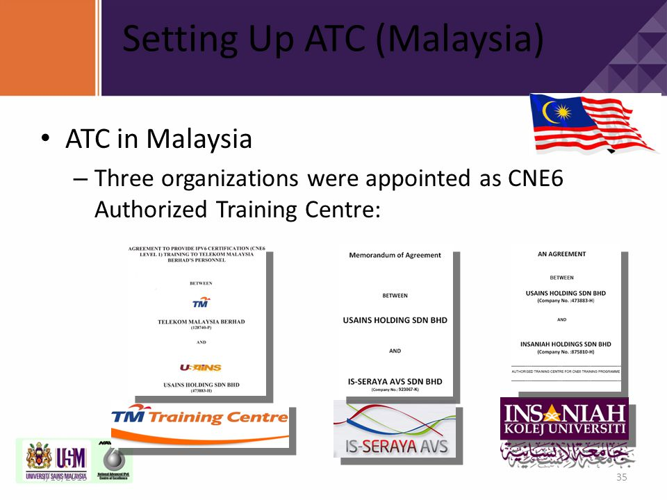 Setting Up ATC (Malaysia) ATC in Malaysia – Three organizations were appointed as CNE6 Authorized Training Centre: 4/16/201535