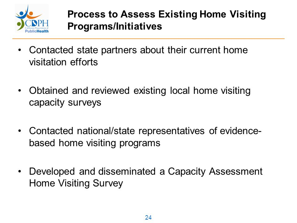 24 Process to Assess Existing Home Visiting Programs/Initiatives Contacted state partners about their current home visitation efforts Obtained and reviewed existing local home visiting capacity surveys Contacted national/state representatives of evidence- based home visiting programs Developed and disseminated a Capacity Assessment Home Visiting Survey