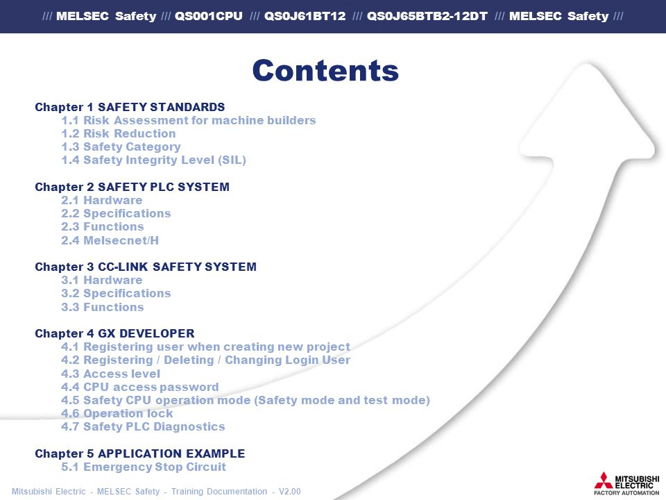 /// MELSEC Safety /// QS001CPU /// QS0J61BT12 /// QS0J65BTB2-12DT /// MELSEC Safety /// Mitsubishi Electric - MELSEC Safety - Training Documentation - V2.00 Contents Chapter 1 SAFETY STANDARDS 1.1 Risk Assessment for machine builders 1.2 Risk Reduction 1.3 Safety Category 1.4 Safety Integrity Level (SIL) Chapter 2 SAFETY PLC SYSTEM 2.1 Hardware 2.2 Specifications 2.3 Functions 2.4 Melsecnet/H Chapter 3 CC-LINK SAFETY SYSTEM 3.1 Hardware 3.2 Specifications 3.3 Functions Chapter 4 GX DEVELOPER 4.1 Registering user when creating new project 4.2 Registering / Deleting / Changing Login User 4.3 Access level 4.4 CPU access password 4.5 Safety CPU operation mode (Safety mode and test mode) 4.6 Operation lock 4.7 Safety PLC Diagnostics Chapter 5 APPLICATION EXAMPLE 5.1 Emergency Stop Circuit