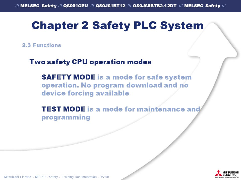 /// MELSEC Safety /// QS001CPU /// QS0J61BT12 /// QS0J65BTB2-12DT /// MELSEC Safety /// Mitsubishi Electric - MELSEC Safety - Training Documentation - V2.00 Chapter 2 Safety PLC System 2.3 Functions Two safety CPU operation modes SAFETY MODE is a mode for safe system operation.