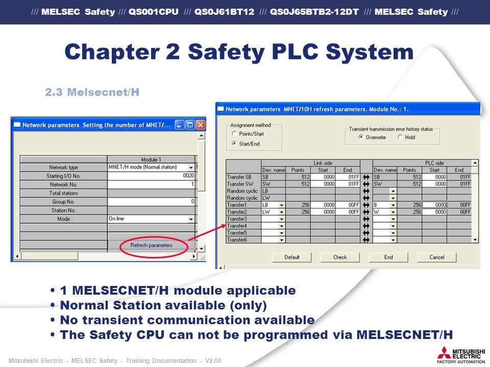 /// MELSEC Safety /// QS001CPU /// QS0J61BT12 /// QS0J65BTB2-12DT /// MELSEC Safety /// Mitsubishi Electric - MELSEC Safety - Training Documentation - V2.00 Chapter 2 Safety PLC System 2.3 Melsecnet/H 1 MELSECNET/H module applicable Normal Station available (only) No transient communication available The Safety CPU can not be programmed via MELSECNET/H