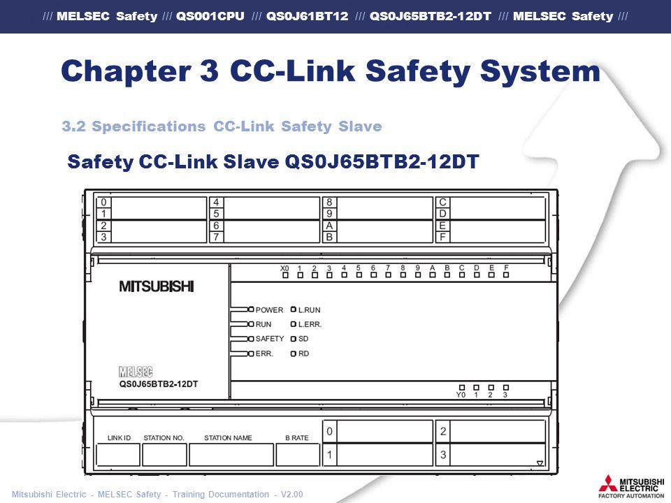 /// MELSEC Safety /// QS001CPU /// QS0J61BT12 /// QS0J65BTB2-12DT /// MELSEC Safety /// Mitsubishi Electric - MELSEC Safety - Training Documentation - V2.00 Chapter 3 CC-Link Safety System 3.2 Specifications CC-Link Safety Slave Safety CC-Link Slave QS0J65BTB2-12DT