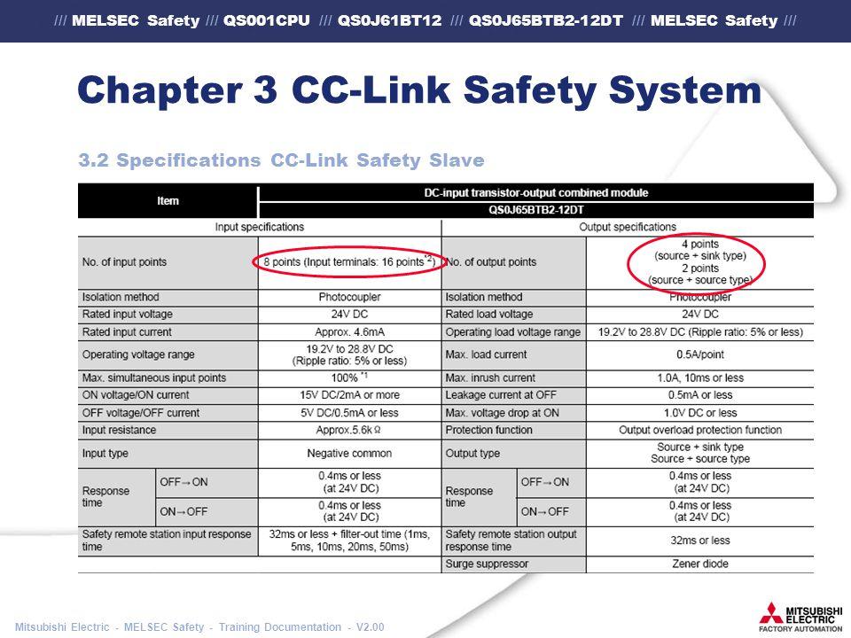 /// MELSEC Safety /// QS001CPU /// QS0J61BT12 /// QS0J65BTB2-12DT /// MELSEC Safety /// Mitsubishi Electric - MELSEC Safety - Training Documentation - V2.00 Chapter 3 CC-Link Safety System 3.2 Specifications CC-Link Safety Slave