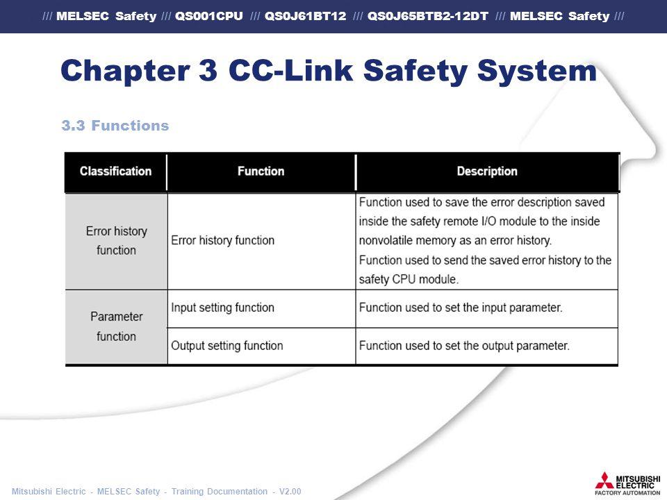 /// MELSEC Safety /// QS001CPU /// QS0J61BT12 /// QS0J65BTB2-12DT /// MELSEC Safety /// Mitsubishi Electric - MELSEC Safety - Training Documentation - V2.00 Chapter 3 CC-Link Safety System 3.3 Functions