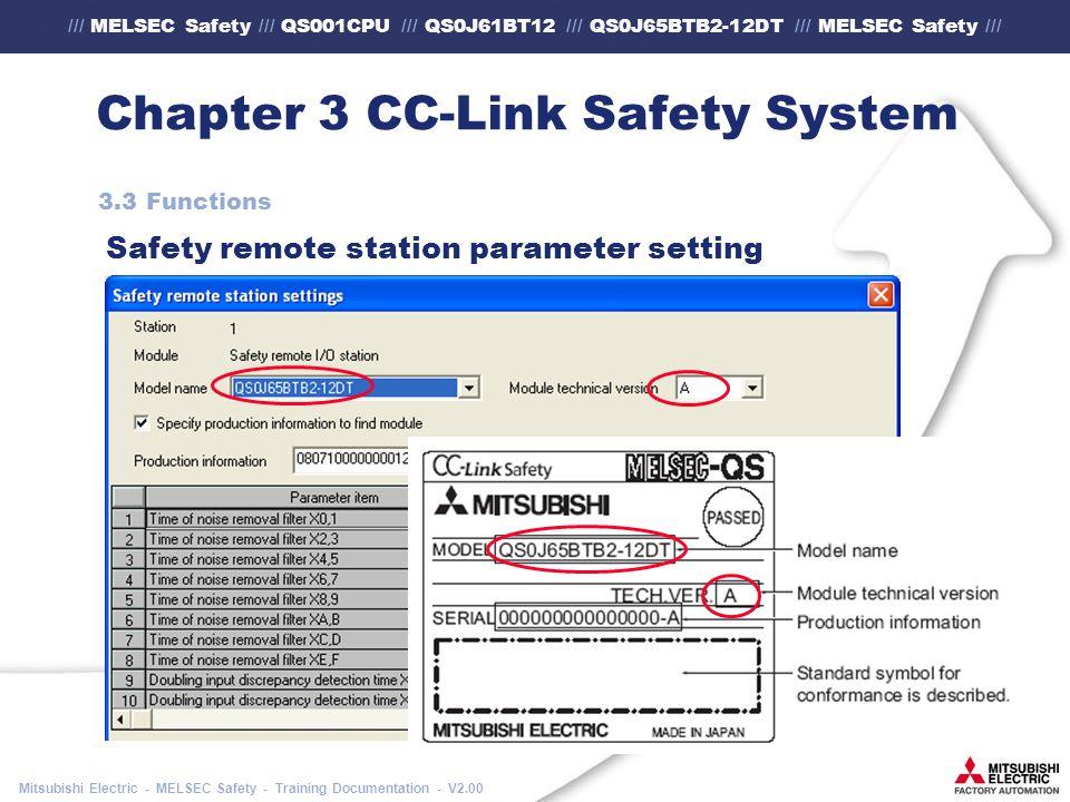 /// MELSEC Safety /// QS001CPU /// QS0J61BT12 /// QS0J65BTB2-12DT /// MELSEC Safety /// Mitsubishi Electric - MELSEC Safety - Training Documentation - V2.00 Chapter 3 CC-Link Safety System 3.3 Functions Safety remote station parameter setting