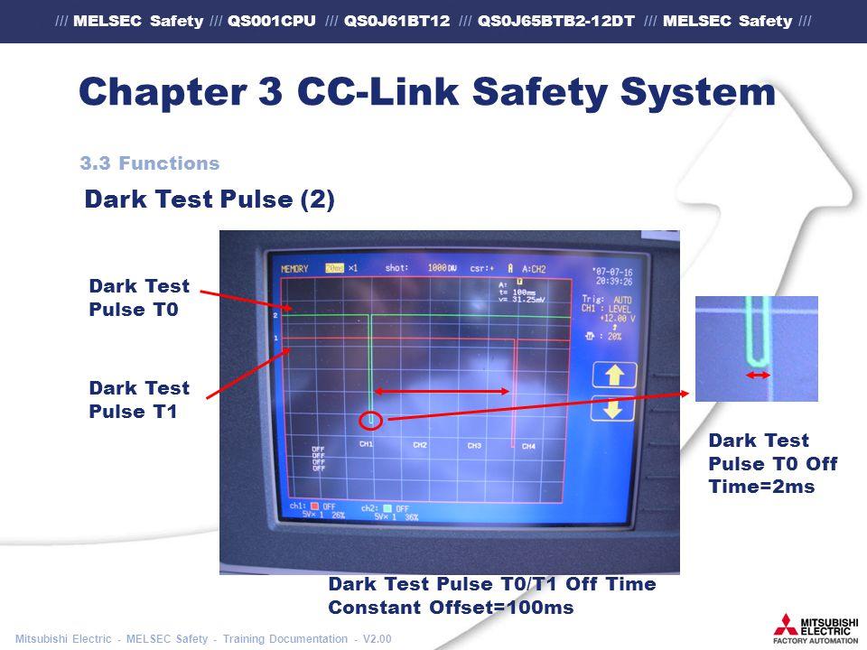 /// MELSEC Safety /// QS001CPU /// QS0J61BT12 /// QS0J65BTB2-12DT /// MELSEC Safety /// Mitsubishi Electric - MELSEC Safety - Training Documentation - V2.00 Chapter 3 CC-Link Safety System 3.3 Functions Dark Test Pulse (2) Dark Test Pulse T0 Dark Test Pulse T1 Dark Test Pulse T0/T1 Off Time Constant Offset=100ms Dark Test Pulse T0 Off Time=2ms