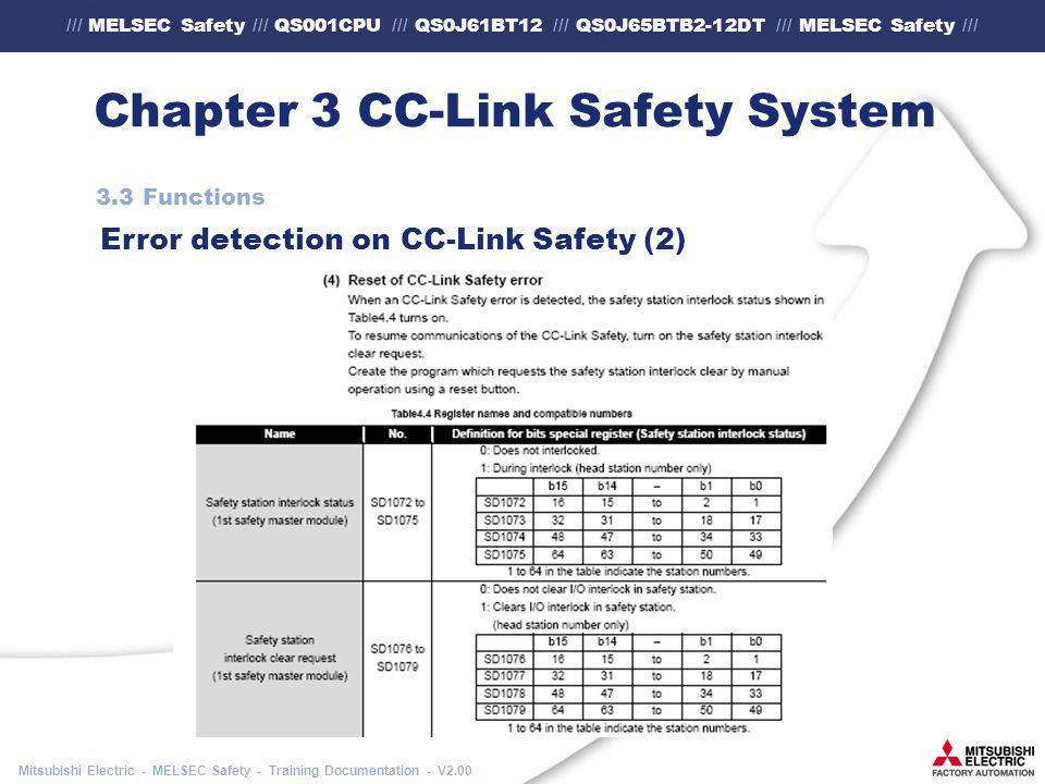 /// MELSEC Safety /// QS001CPU /// QS0J61BT12 /// QS0J65BTB2-12DT /// MELSEC Safety /// Mitsubishi Electric - MELSEC Safety - Training Documentation - V2.00 Chapter 3 CC-Link Safety System 3.3 Functions Error detection on CC-Link Safety (2)