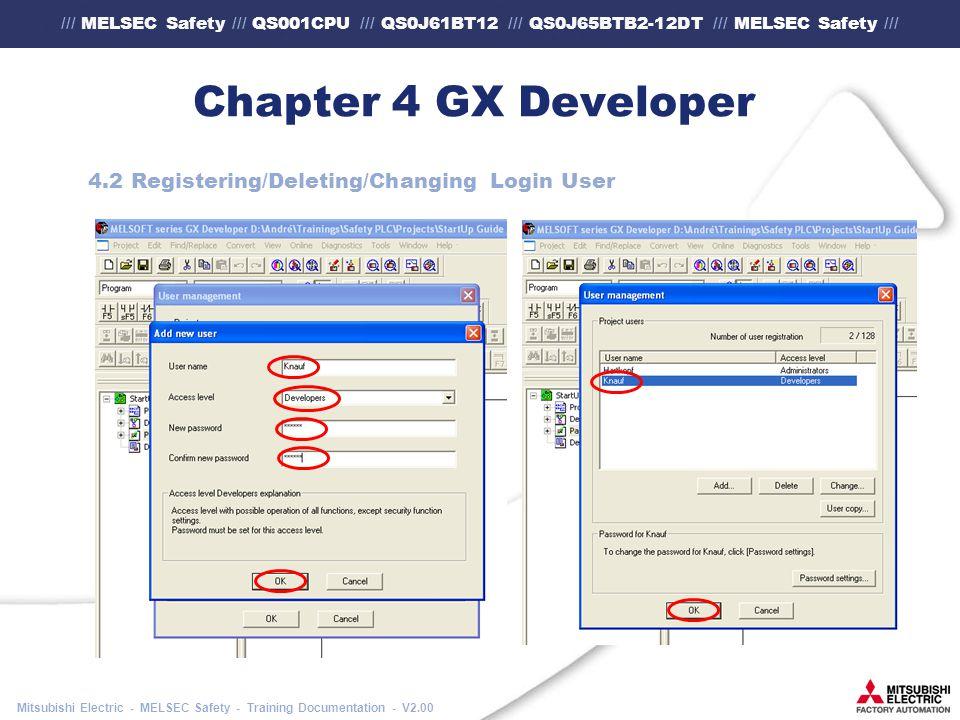/// MELSEC Safety /// QS001CPU /// QS0J61BT12 /// QS0J65BTB2-12DT /// MELSEC Safety /// Mitsubishi Electric - MELSEC Safety - Training Documentation - V2.00 Chapter 4 GX Developer 4.2 Registering/Deleting/Changing Login User