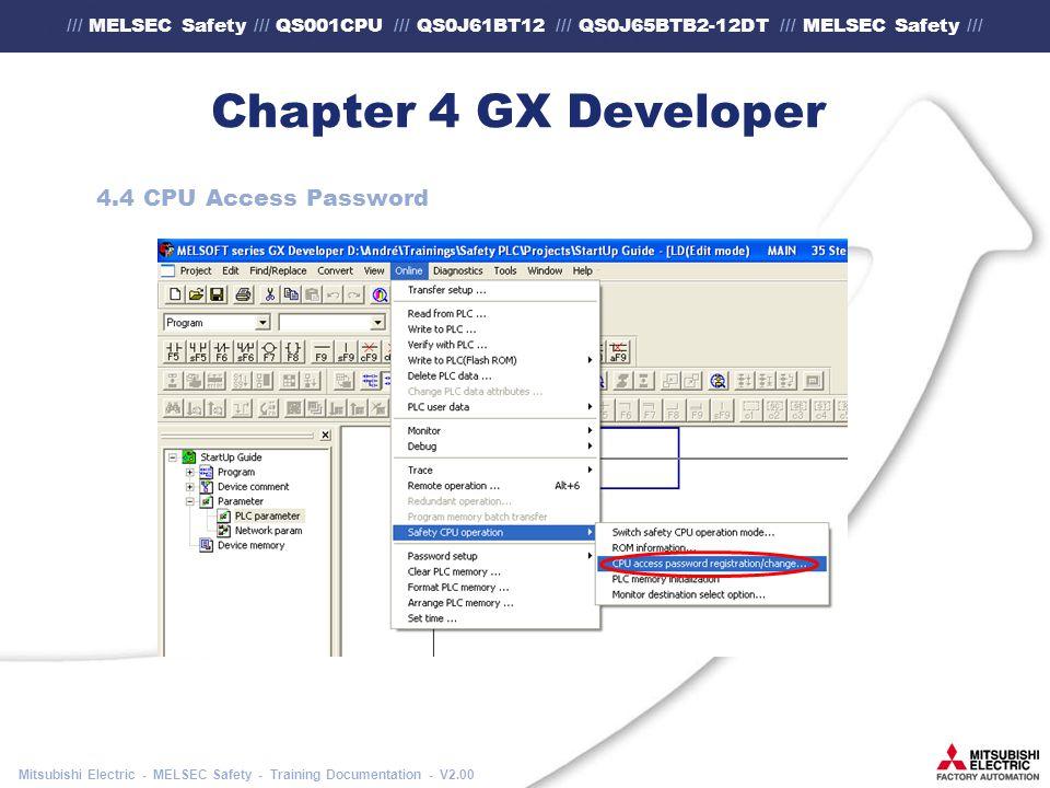 /// MELSEC Safety /// QS001CPU /// QS0J61BT12 /// QS0J65BTB2-12DT /// MELSEC Safety /// Mitsubishi Electric - MELSEC Safety - Training Documentation - V2.00 Chapter 4 GX Developer 4.4 CPU Access Password