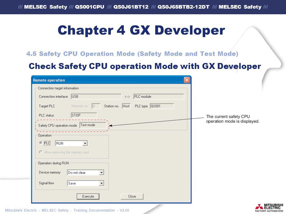 /// MELSEC Safety /// QS001CPU /// QS0J61BT12 /// QS0J65BTB2-12DT /// MELSEC Safety /// Mitsubishi Electric - MELSEC Safety - Training Documentation - V2.00 Chapter 4 GX Developer 4.5 Safety CPU Operation Mode (Safety Mode and Test Mode) Check Safety CPU operation Mode with GX Developer