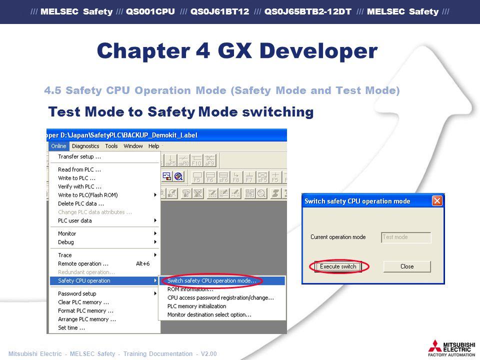 /// MELSEC Safety /// QS001CPU /// QS0J61BT12 /// QS0J65BTB2-12DT /// MELSEC Safety /// Mitsubishi Electric - MELSEC Safety - Training Documentation - V2.00 Chapter 4 GX Developer 4.5 Safety CPU Operation Mode (Safety Mode and Test Mode) Test Mode to Safety Mode switching