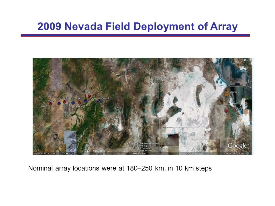 2009 Nevada Field Deployment of Array Nominal array locations were at 180–250 km, in 10 km steps