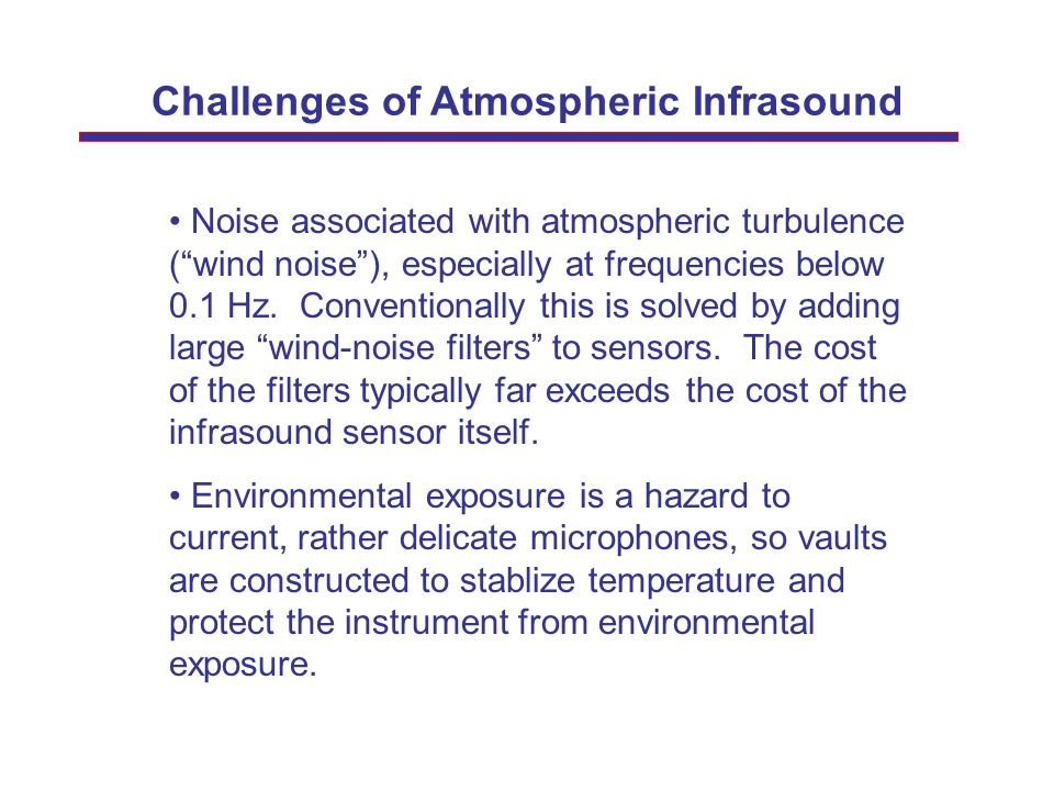 """Challenges of Atmospheric Infrasound Noise associated with atmospheric turbulence (""""wind noise""""), especially at frequencies below 0.1 Hz. Conventional"""