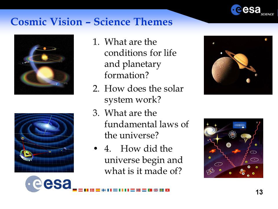13 Cosmic Vision – Science Themes 1.What are the conditions for life and planetary formation? 2.How does the solar system work? 3.What are the fundame