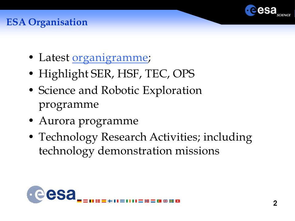 2 ESA Organisation Latest organigramme;organigramme Highlight SER, HSF, TEC, OPS Science and Robotic Exploration programme Aurora programme Technology Research Activities; including technology demonstration missions