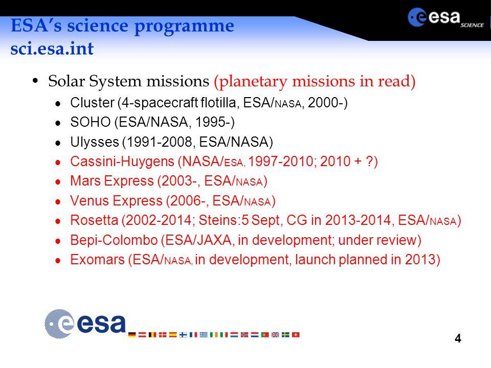 4 ESA's science programme sci.esa.int Solar System missions (planetary missions in read)  Cluster (4-spacecraft flotilla, ESA/ NASA, 2000-)  SOHO (ESA/NASA, 1995-)  Ulysses (1991-2008, ESA/NASA)  Cassini-Huygens (NASA/ ESA, 1997-2010; 2010 + ?)  Mars Express (2003-, ESA/ NASA )  Venus Express (2006-, ESA/ NASA )  Rosetta (2002-2014; Steins:5 Sept, CG in 2013-2014, ESA/ NASA )  Bepi-Colombo (ESA/JAXA, in development; under review)  Exomars (ESA/ NASA, in development, launch planned in 2013)